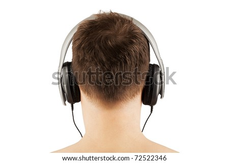 Young man with headphones isolated on white with clipping path. Dj.