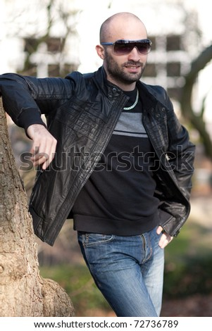 Young man with leather jacket