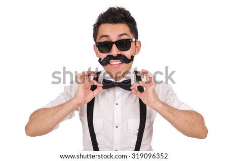 Young man with moustache isolated on white - stock photo