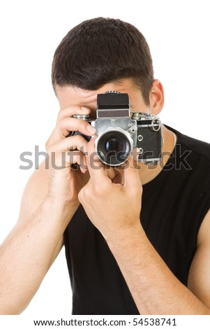 Young man with photo camera isolate - stock photo