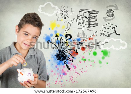 Young man with piggy bank - stock photo