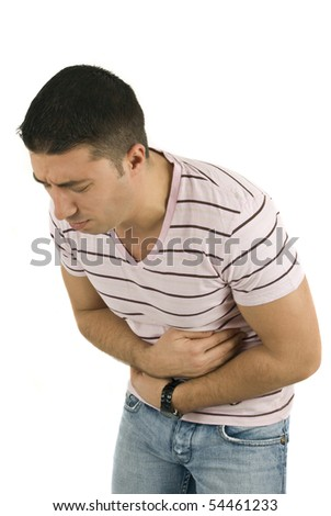 Young man with problems stomach ache isolated on white background - stock photo