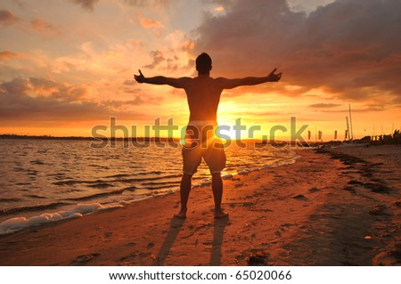 Young man with spread arms celebrating and enjoying the moment at the seaside at sunset - stock photo