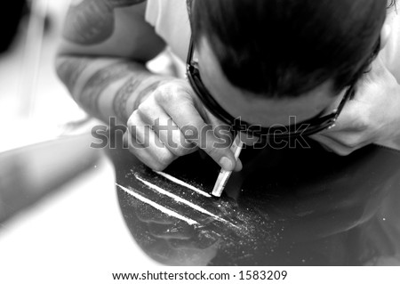 Young man tattoo sniffing cocaine stock photo 1583209 for Drug addiction tattoos