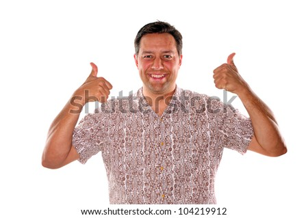 Young man with two thumbs up to gesture his is approving of a thought - stock photo