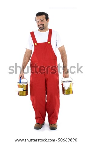 Young man working as painter, on white background - stock photo