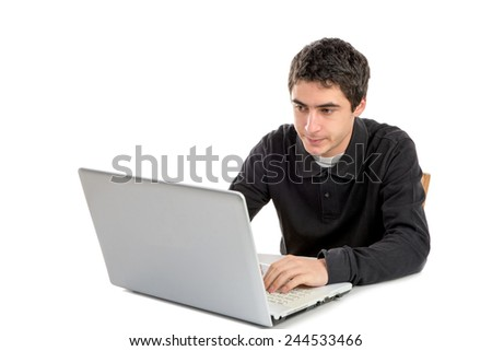 young man working with his laptop on the white background