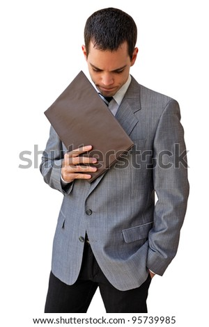 Young manager Businessman thinking and holding a document.