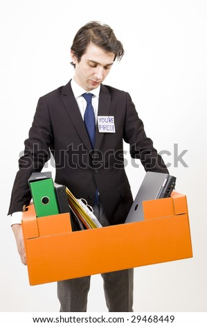 Young manager fired from his job - stock photo