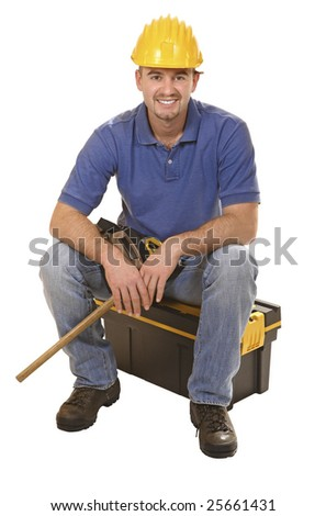 young mantool sit on tool box isolated on white - stock photo