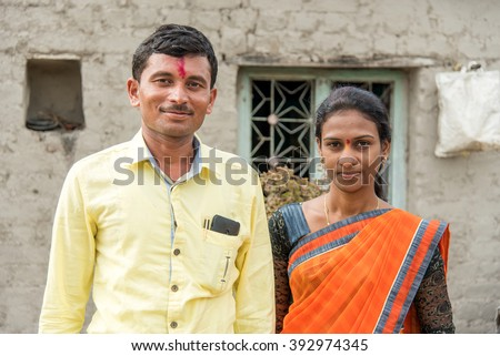Young married couple closeup in rural village salunkwadi ambajogai beed maharashtra india