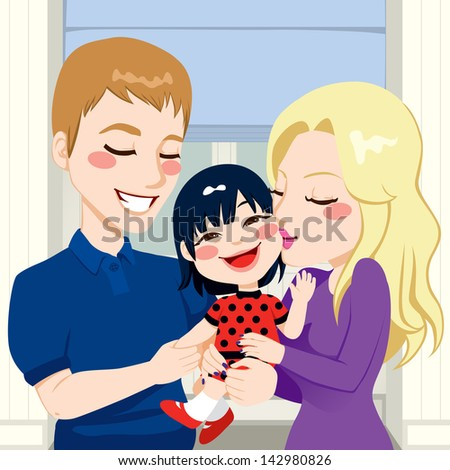 Young married couple hugging and kissing their beautiful adopted asian little daughter - stock photo
