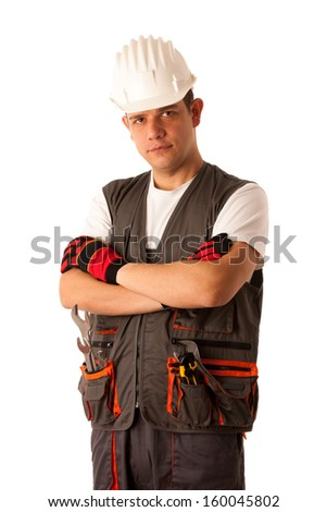 Young mechanic isolated over white background - stock photo