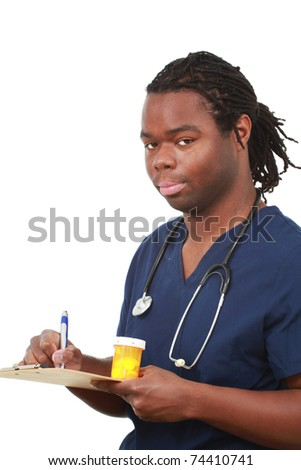 Young medical professional working - stock photo