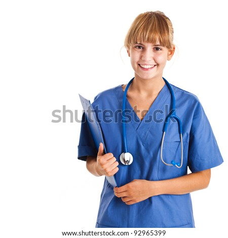 Young medical worker smiling - stock photo