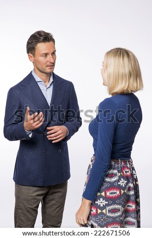Young men and women professional conversation - stock photo