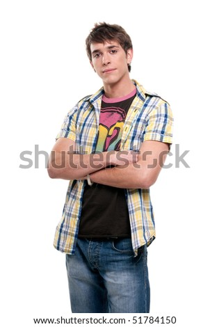 "Young men ""crossed arms"" looking serious to camera on white background. - stock photo"
