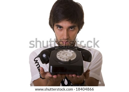 young men giving you the telephone (selective focus) - stock photo