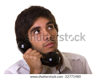 young men talking with a old telephone - stock photo
