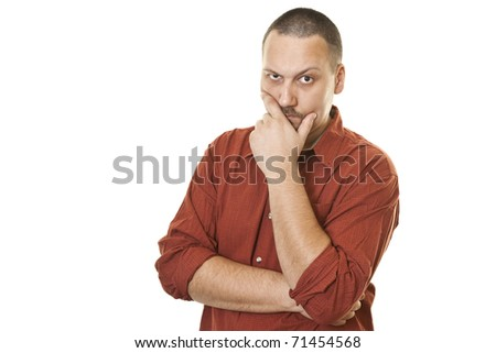 Young men thinking with arms crossed - stock photo