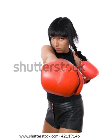 young military brunette female boxing isolated on white