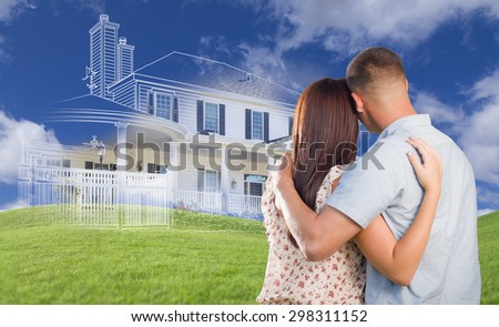 Young Military Couple Facing Ghosted House Drawing, Partial Photo and Rolling Green Hills. - stock photo