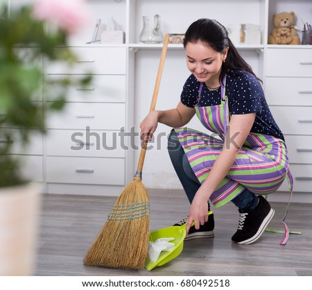 Young Mistress Sweeping Floors House Broom Stock Photo
