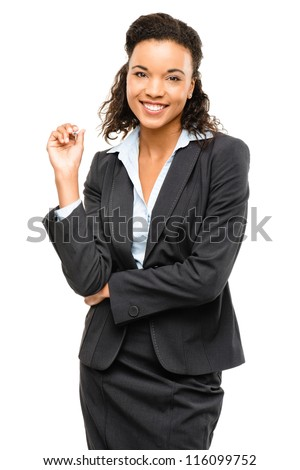 Young mixed race businesswoman smiling isolated on white background