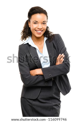 Young mixed race businesswoman with arms folded smiling isolated on white background - stock photo