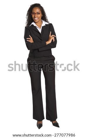 Young mixed race businesswoman with arms folded smiling isolated on white background