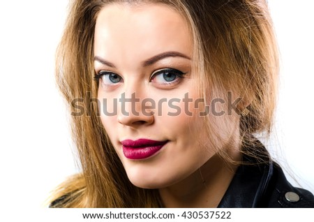 Young model with clean skin. Portrait in studio isolated on white background.