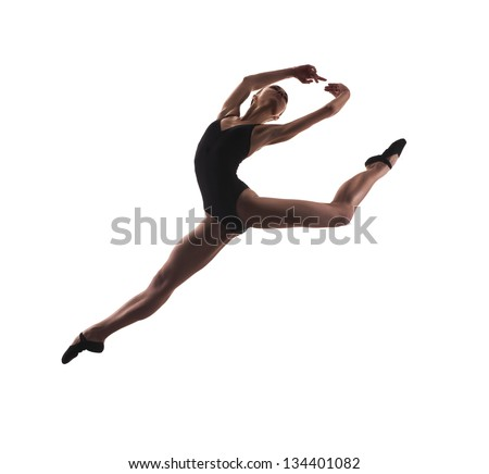 young modern ballet dancer jumping on white background - stock photo