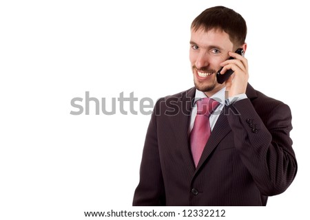 young modern business man talking on cell phone (isolated on white)