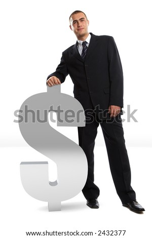 Young Modern Businessman leaning on 3d dollar symbol shot in studio
