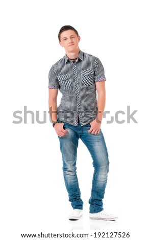 Young modern man isolated on white background