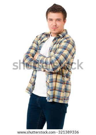 Young modern man with hands folded isolated on white background