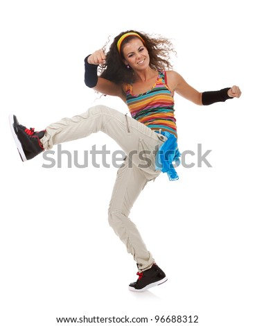 young modern woman dancer kicking and dancing on white background. excited young woman dancer - stock photo