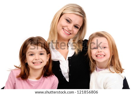 young mom with kids - stock photo