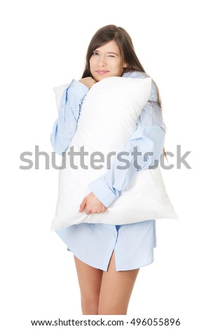 Young morning woman in big shirt.