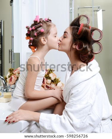 Young Mother Daughter Bathroom Playing Happy Stock Photo 602170679
