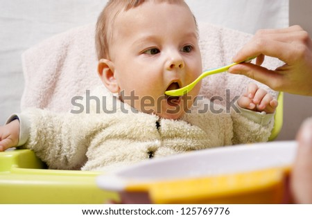 young mother feeding baby baby food with a spoon - stock photo
