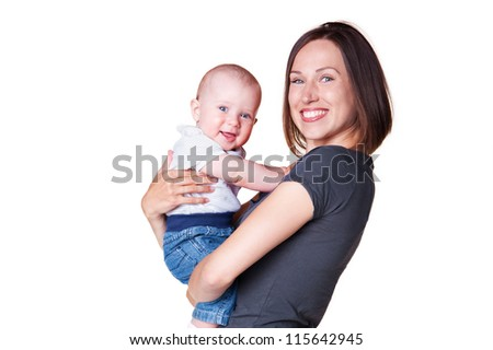 young mother holding in her arms smiley son. isolated on white background