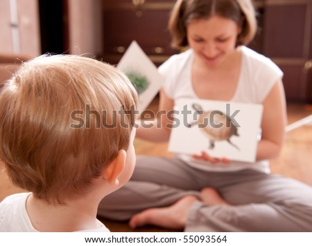 Young mother is showing cards with animals to her little son - stock photo