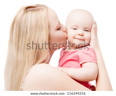 young mother kissing her baby, isolated on white background - stock photo