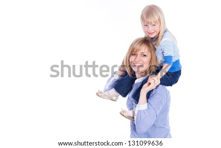 Young mother playing with daughter. On white background - stock photo
