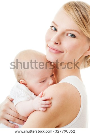 Young mother with a charming baby.Happy cheerful family. isolated on white. - stock photo