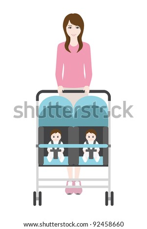 Young mother with baby in perambulator. - stock photo