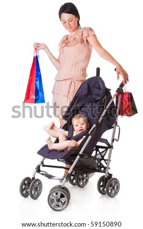 Young mother with baby in perambulator. Isolated on white background - stock photo