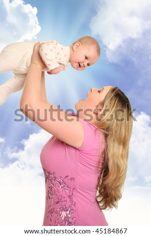 young mother with baby isolated on white