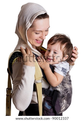young mother with child isolated on white - stock photo
